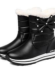 cheap -Women's Boots Flat Heel Round Toe Bowknot PU Booties / Ankle Boots Sweet / Preppy Fall & Winter Black / Dark Red / Pink