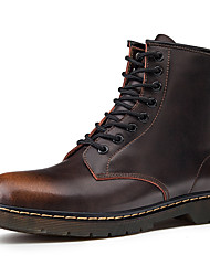 cheap -Men's Combat Boots Cowhide Fall & Winter Casual / British Boots Warm Booties / Ankle Boots Black / Brown