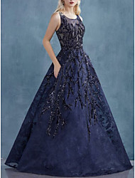 cheap -A-Line Jewel Neck Floor Length Organza Elegant Prom Dress with Appliques 2020