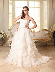 cheap -A-Line Sweetheart Neckline Chapel Train Organza / Satin Strapless Made-To-Measure Wedding Dresses with Beading / Appliques / Cascading Ruffles 2020