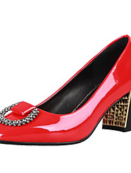 cheap -Women's Heels Chunky Heel Square Toe Rhinestone PU Spring &  Fall Black / Red / Party & Evening