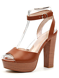 cheap -Women's Sandals Chunky Heel Peep Toe Buckle Faux Leather Sweet / Minimalism Spring & Summer Brown / Wedding / Party & Evening