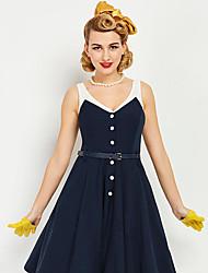 cheap -Audrey Hepburn Marilyn Monroe Retro Vintage 1950s Wasp-Waisted Dress JSK / Jumper Skirt Women's Costume Black Vintage Cosplay Homecoming Sleeveless Midi