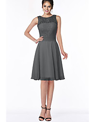 cheap -A-Line Jewel Neck Knee Length Chiffon Bridesmaid Dress with Bow(s) / Lace / Pleats