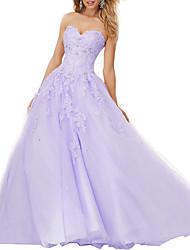 cheap -A-Line Floral Purple Quinceanera Prom Dress Sweetheart Neckline Sleeveless Floor Length Lace Tulle with Beading Appliques 2020