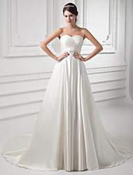 cheap -A-Line Sweetheart Neckline Court Train Satin Strapless Wedding Dresses with Buttons / Ruched / Beading 2020