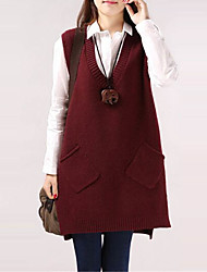 cheap -Women's Solid Colored Sleeveless Pullover Sweater Jumper, V Neck Black / Wine / White One-Size