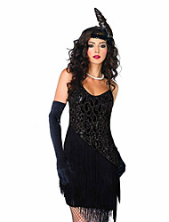 cheap -The Great Gatsby Charleston 1920s Roaring 20s Flapper Dress Cocktail Dress Women's Sequins Tassel Fringe Costume Black / Golden Vintage Cosplay Party Prom Sleeveless Above Knee / Glove / Headpiece
