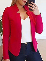 cheap -Women's Blazer, Solid Colored Stand Polyester Black / White / Blushing Pink