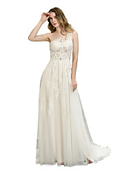 cheap -A-Line One Shoulder Court Train Tulle Cap Sleeve Made-To-Measure Wedding Dresses with Appliques 2020