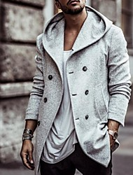 cheap -Men's Daily Fall & Winter Long Trench Coat, Solid Colored Hooded Long Sleeve Polyester Black / Camel / Gray