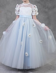 cheap -Ball Gown Floor Length Pageant Flower Girl Dresses - Polyester Short Sleeve Jewel Neck with Lace / Appliques