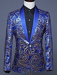 cheap -Men's Blazer Shirt Collar Polyester Royal Blue / Red