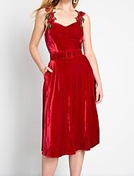 cheap -A-Line Square Neck Tea Length Velvet Elegant Cocktail Party / Holiday Dress with Appliques 2020