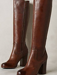 cheap -Women's Boots Chunky Heel Round Toe PU Mid-Calf Boots Winter Brown