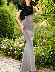 cheap -Mermaid / Trumpet Elegant Grey Engagement Formal Evening Dress One Shoulder Sleeveless Floor Length Polyester with Ruffles 2020