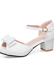 cheap -Women's Sandals Chunky Heel Peep Toe Bowknot PU Sweet / Preppy Summer Black / White / Pink / Party & Evening