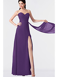 cheap -A-Line Strapless Floor Length Chiffon Bridesmaid Dress with Split Front / Ruching