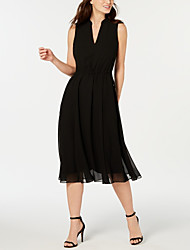 cheap -A-Line Plunging Neck Tea Length Chiffon Elegant Cocktail Party / Holiday Dress with Pleats 2020