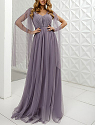cheap -A-Line V Neck Floor Length Tulle Dress with Pleats by LAN TING Express