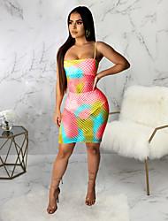 cheap -Women's Mini Blushing Pink Orange Dress Beach Bar Bodycon Camouflage Off Shoulder Print S M Slim