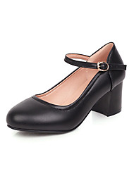 cheap -Women's Heels Chunky Heel Round Toe PU Casual / Minimalism Spring & Summer Black / Beige