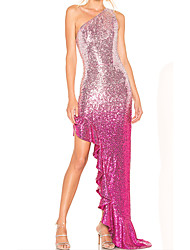 cheap -Sheath / Column One Shoulder Asymmetrical Chiffon / Sequined Elegant Prom / Formal Evening Dress with Sequin / Pleats 2020