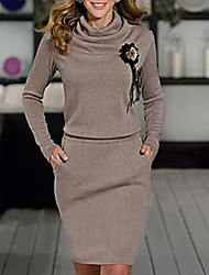cheap -Women's Brown Gray Dress Basic Daily Wear Sheath Solid Color Crew Neck S M