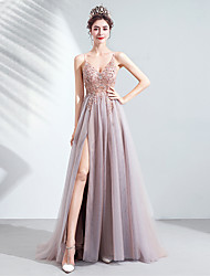 cheap -A-Line Spaghetti Strap Sweep / Brush Train Tulle Sexy / Furcal Prom Dress with Beading / Sequin / Split Front 2020