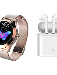 cheap -KW10 Stainless Steel Smartwatch BT Fitness Tracker with TWS Wireless Headphone Support Notify/Heart Rate Monitor Sport Smart Watch Compatible IOS/Android Phones