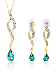 cheap -Women's Blue Green Cubic Zirconia Bridal Jewelry Sets Geometrical Angel Fashion Earrings Jewelry Blue For Gift Daily 1 set