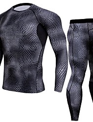 cheap -JACK CORDEE Men's Long Sleeve Cycling Jersey with Tights Compression Suit Winter Fleece Polyester Black Bike Clothing Suit Thermal / Warm Breathable Quick Dry Sweat-wicking Sports Animal Fur Pattern