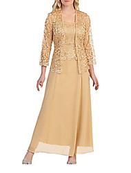 cheap -Women's Plus Size Maxi Two Piece Dress - Solid Colored Boat Neck Black Wine Gold M L XL XXL