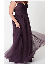 cheap -A-Line V Neck Ankle Length Chiffon / Tulle Bridesmaid Dress with Ruching