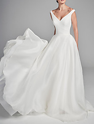 cheap -A-Line V Neck Court Train Charmeuse Short Sleeve Wedding Dresses with Draping 2020