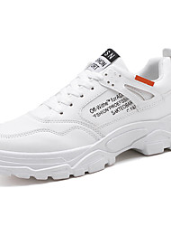 cheap -Men's Comfort Shoes Leather Fall & Winter Sporty / Casual Athletic Shoes Running Shoes / Walking Shoes Non-slipping White / Beige / Gray