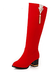 cheap -Women's Boots Chunky Heel Round Toe Buckle Suede Knee High Boots Casual / British Fall & Winter Black / Red