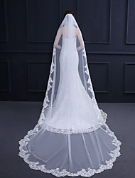 cheap -One-tier Antique / Luxury Wedding Veil Cathedral Veils with Hand Hook / Solid / Pattern 118.11 in (300cm) 100% Polyester / Classic