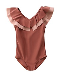 cheap -Kids Girls' Solid Colored Swimwear Brown