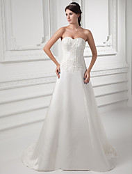 cheap -A-Line Wedding Dresses Sweetheart Neckline Court Train Satin Strapless with Beading Appliques 2020