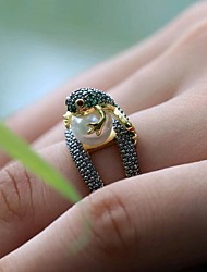 cheap -Women's Ring Green Imitation Pearl Copper Daily Jewelry 3D Animal Cute