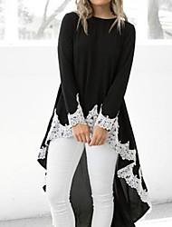 cheap -Women's Daily Plus Size Blouse - Color Block Black