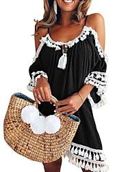 cheap -Women's A Line Dress - Sleeveless Color Block Halter Neck Black Blue Purple Red S M L XL XXL XXXL XXXXL XXXXXL