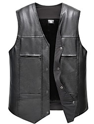 cheap -Men's Daily Fall & Winter Regular Vest, Solid Colored V Neck Sleeveless PU Black / Yellow