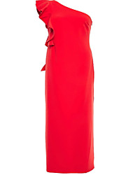 cheap -Sheath / Column One Shoulder Floor Length Chiffon Elegant Engagement / Formal Evening Dress with Cascading Ruffles / Pleats 2020
