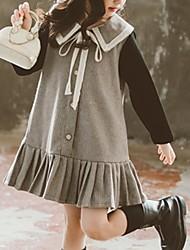 Недорогие -Дети Девочки Контрастных цветов Платье Серый