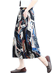 cheap -Women's Dress / Going out Basic / Boho A Line Skirts - Rainbow Print Yellow Red Navy Blue M L XXL