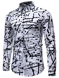 cheap -Men's Daily Going out Basic Shirt - Geometric Print White