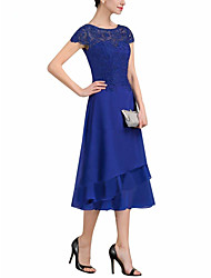 cheap -A-Line Mother of the Bride Dress Plus Size Jewel Neck Tea Length Chiffon Lace Short Sleeve with Tier 2020