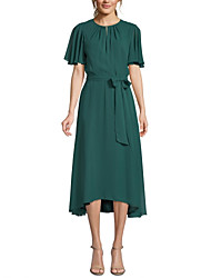 cheap -A-Line Mother of the Bride Dress Plus Size Jewel Neck Tea Length Chiffon Short Sleeve with Sash / Ribbon Bow(s) Ruching 2020